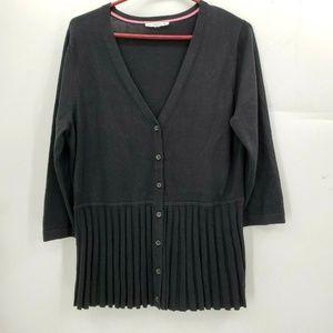 Isaac mizrahi Sweater live black pleated cardigan